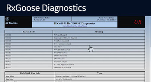 UR-1043 - View the UR WebServer - RxGOOSE Diagnostics