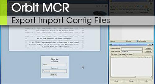 Orbit MCR Export Import of Configuration Files v3.0
