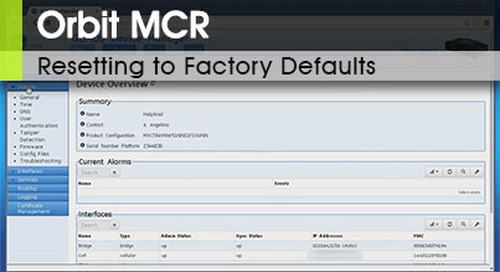 Orbit MCR | Resetting to Factory Defaults v3.0