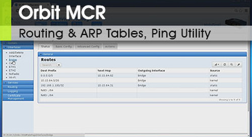 Orbit™ MCR | Routing Tables, ARP Tables and Ping Utility v1.0