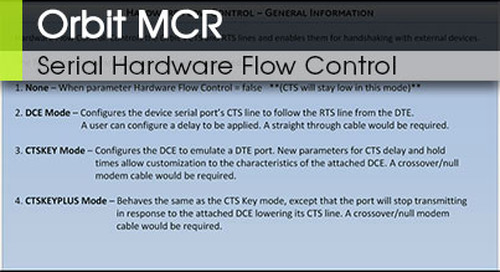 Orbit™ MCR | Serial Hardware Flow Control v1.0