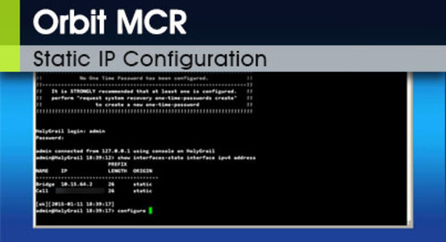 Orbit MCR | Static IP Configuration v3.0