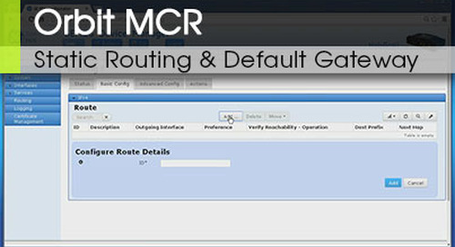 Orbit™ MCR | Static Routing and Default Gateway v1.0