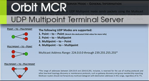 Orbit™ MCR | UDP Multipoint Terminal Server v1.0