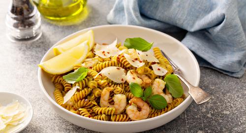 Recipe: Pesto Basil Shrimp with Chickpea Pasta