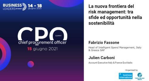 [CPO Summit] La nuova frontiera del risk management: tra sfide ed opportunità nella sostenibilità