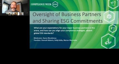 [Compliance Week] Oversight of Business Partners and Sharing ESG Commitments