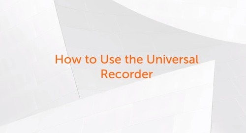 Enterprise A2019 - How to Use Universal Recorder