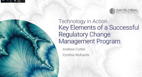 Tech in Action: Key Elements of a Successful Regulatory Change Management Program with Andrew Cutter and Cynthia Richards