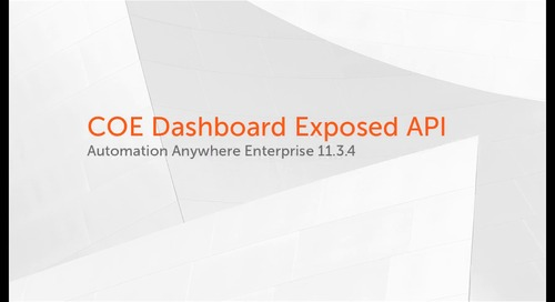 Enterprise 11.x Features - COE Dashboard Exposed API