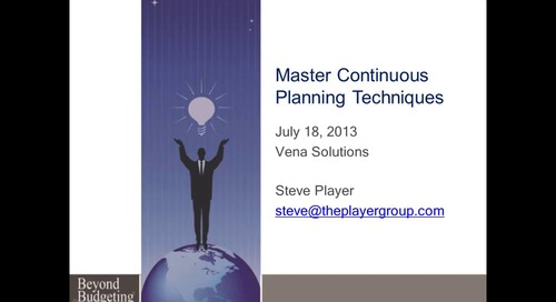 Continuous Planning and Forecasting Seminar featuring Steve Player