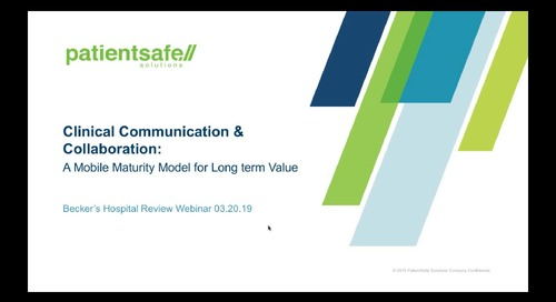 2019-03-20 13.01 Clinical Communications Comes of Age – A new Mobile Maturity Model to drive long term value and ROI