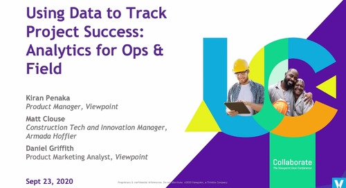 Using Data to Track Project Success: Analytics for Ops & Field in Vista