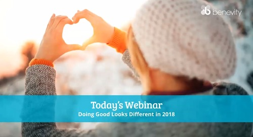 Webinar: Doing Good Looks Different in 2018
