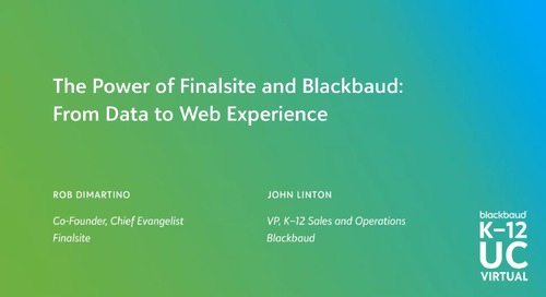 The Power of Finalsite and Blackbaud: From Data to Web Experience