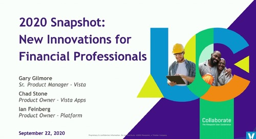 2020 Snapshot: New Innovations for Financial Professionals in Vista
