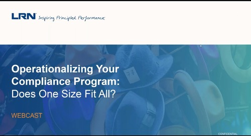 Webcast Replay: Operationalizing Your Compliance Program