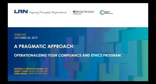 A Pragmatic Approach to Operationalizing your Compliance and Ethics Program