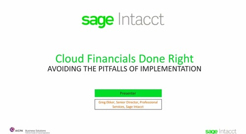 Cloud Financials Done Right - Avoiding the Pitfalls of Implementation