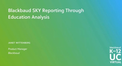 Blackbaud SKY Reporting Through Education Analysis