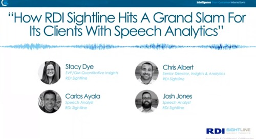 How RDI Sightline Hits a Grand Slam for its Clients with Speech Analytics