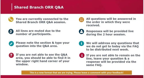 Shared Branch ORR Q&A- June 21, 2018