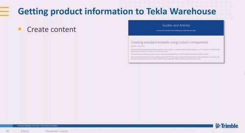 Tekla Warehouse – Real Life Products Delivered Digitally