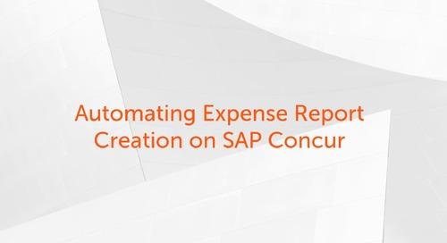 Enterprise A2019 Use Cases - Using Enterprise A2019 to Automate Expense Report Creation on SAP Concur