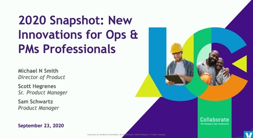 2020 Snapshot: New Innovations for Ops & PMs Professionals in Vista