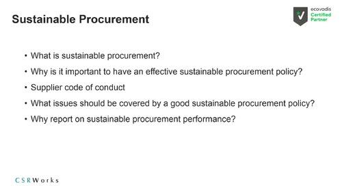 [Partner CSRWorks] Deep Dive EcoVadis Assessment: Sustainable Procurement Theme