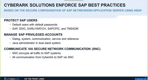 CyberArk & SAP Certified Integration: Secure Critical Business Systems throughout the Enterprise