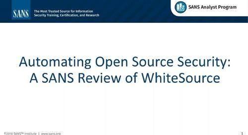 SANS Product Review Webinar