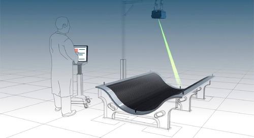 Colocação de folhas e materiais compósitos com tecnologia de projeção a laser