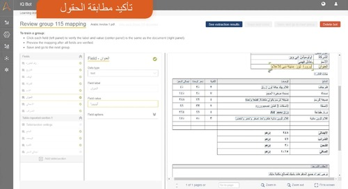 IQ Bot Invoices Processing for Arabic Documents