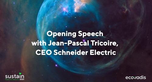 """#Sustain2021 Jean-Pascal Tricoire, PDG de Schneider Electric, entreprise récemment nominée """"la plus durable"""" au monde"""