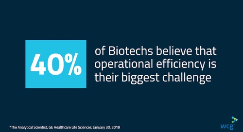 WCG Biotech Solutions: 40% of Biotechs believe that operational efficiency is their biggest challenge