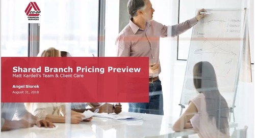 Shared Branching Pricing Change (Internal Webinar)-August 31, 2018