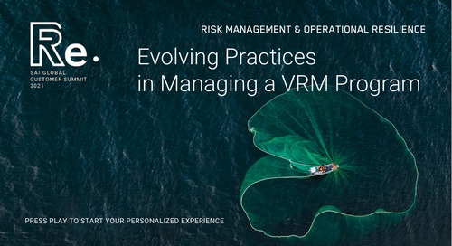 Evolving Practices in Managing a VRM Program