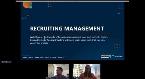 e3 Training: Recruiting Management