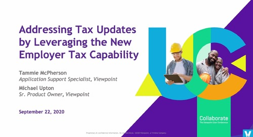Addressing Tax Updates by Leveraging the New Employer Tax Capability with ProContractor