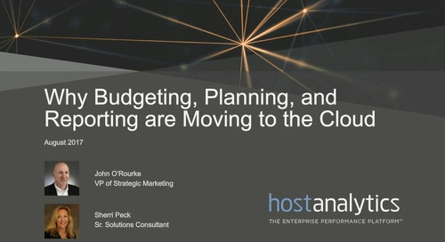 Why Budgeting Planning & Reporting are Moving to the Cloud