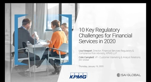 10 Key Regulatory Challenges for Financial Services in 2020