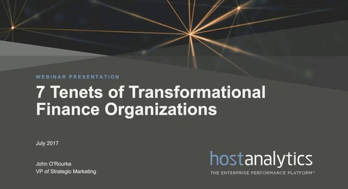 7 Tenets of Transformational Finance Organizations