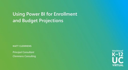 Using Power BI for Enrollment and Budget Projections