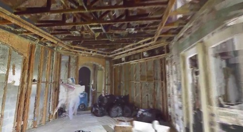 Escaneo láser 3D en casa con daños causados por fuego