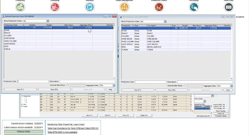 Production Codes in Tekla EPM