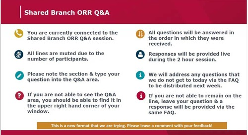Shared Branch ORR Q&A- June 22, 2018