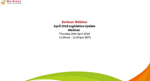 Webinar: April 2018 Legislation update Cority and SHPonline