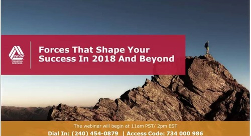 Forces That Shape Your Success in 2018 and Beyond