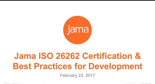 Jama ISO 26262 Certification and Best Practices for Development